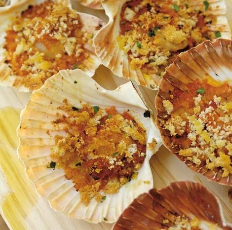 Scallops Baked In Their Shells With White Wine And Breadcrumbs