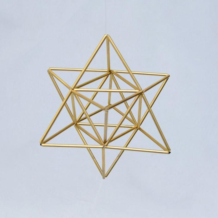 EGG OF LIFE, Merkaba, Tetrahedron Star of David 3 D Himmeli, Hanging Brass Home Decor