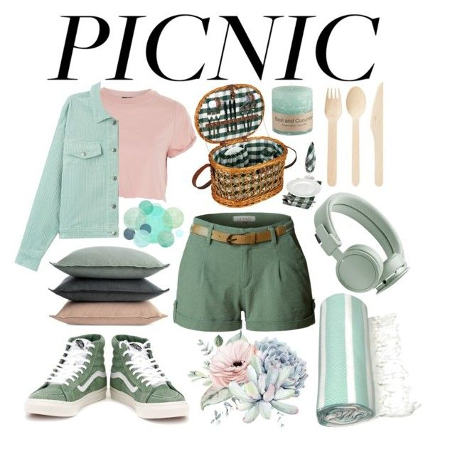 Green Picnic by slytheriner on Polyvore featuring Topshop, LE3NO, Vans, Urbanears, Household Essentials, Linum Home Textiles, Design Within Reach and picnic