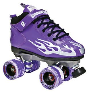 The Rock Flame Purple w/ Silver Flame  Boots:  Rock speed boots with padded collar, foam tongue, and cushion footbed. Plus, the flames on the side. http://shop.rollwithitct.com/The-Rock-Flame-Purple-w-Silver-Flame-SESRFPS.htm