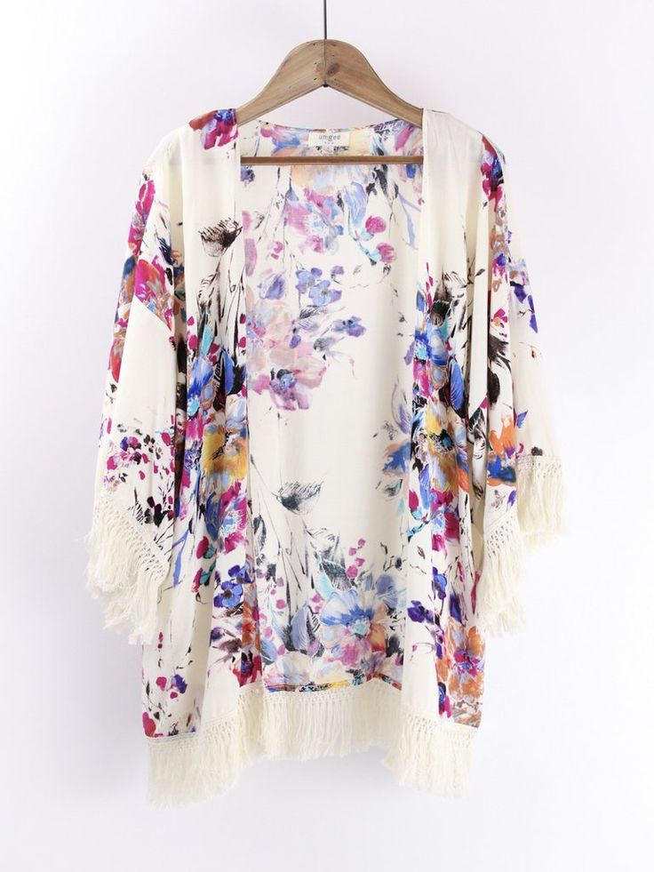 Off White Floral Kimono. Another best seller time after time. This off white Kimono with gorgeous floral print pattern is so easy to wear and easy to pair! therollinj.com http://bellanblue.com