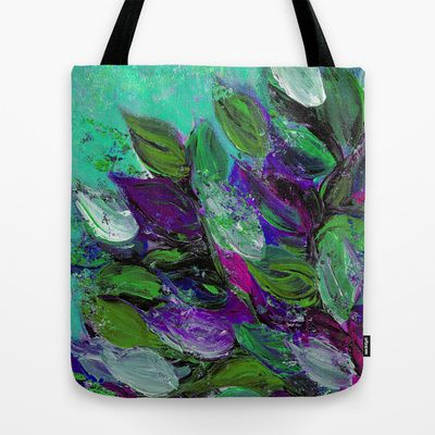 """""""Blooming Beautiful 1"""" by Ebi Emporium on Society 6, #colorful #tote #totebag #artbag #fashion #shoulderbag #bad #floral #flowers #style #giftforher #resuableabag #fineart #painting #floralart #floralpainting #garden #summer #chic #leaves #abstractpainting #turquoise #aqua #mint #green #purple #nature #artist #JuliaDiSano #EbiEmporium"""