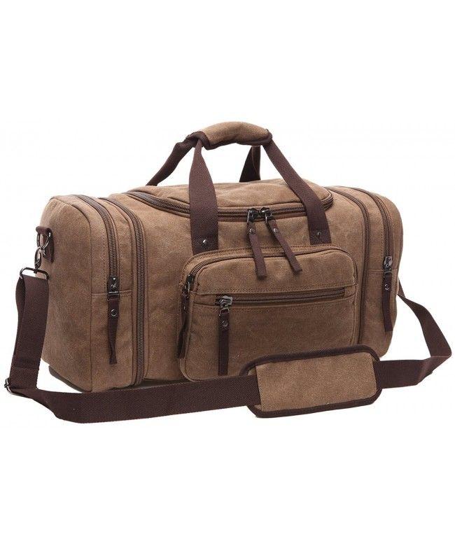 84e17ce49 Men s Oversized Canvas Travel Luggage Bag Weekend Duffel Handbags - Coffee  - CO12CCZUFVB  Bags  handbags  gifts  Style  Duffle Bags