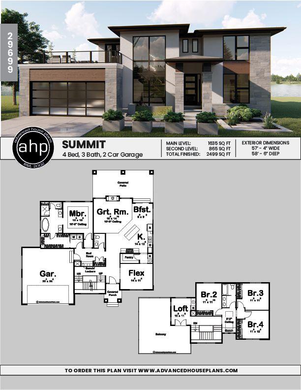 1.5 Story Modern Prairie House Plan   Summit   Modern ...