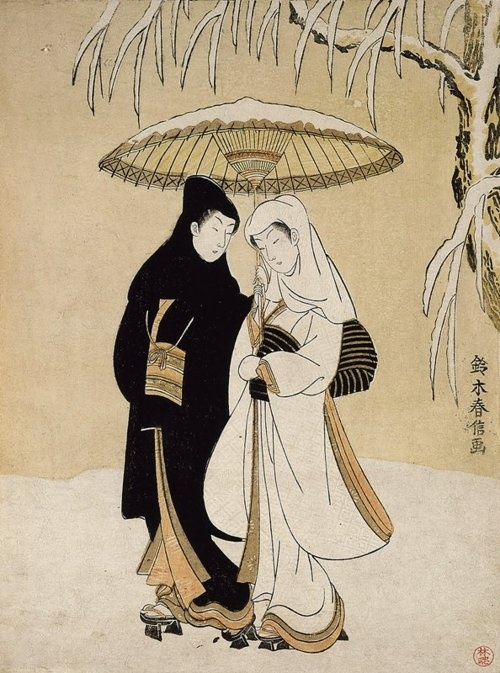 (Lovers Sharing an Umbrella)  ARTIST:Harunobu Suzuki  DATE:1764-1772    The Minneapolis Institute of Arts