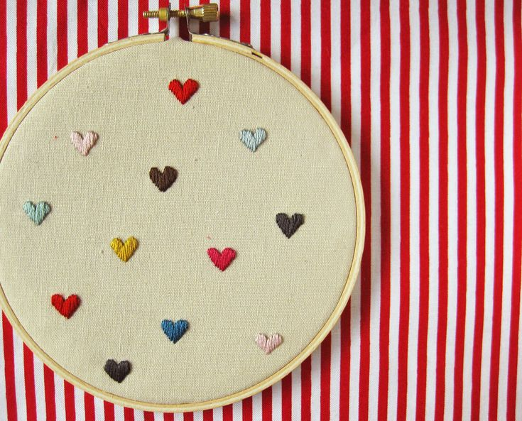 Hearts Embroidery Hoop mini hearts on linen valentine's by oktak