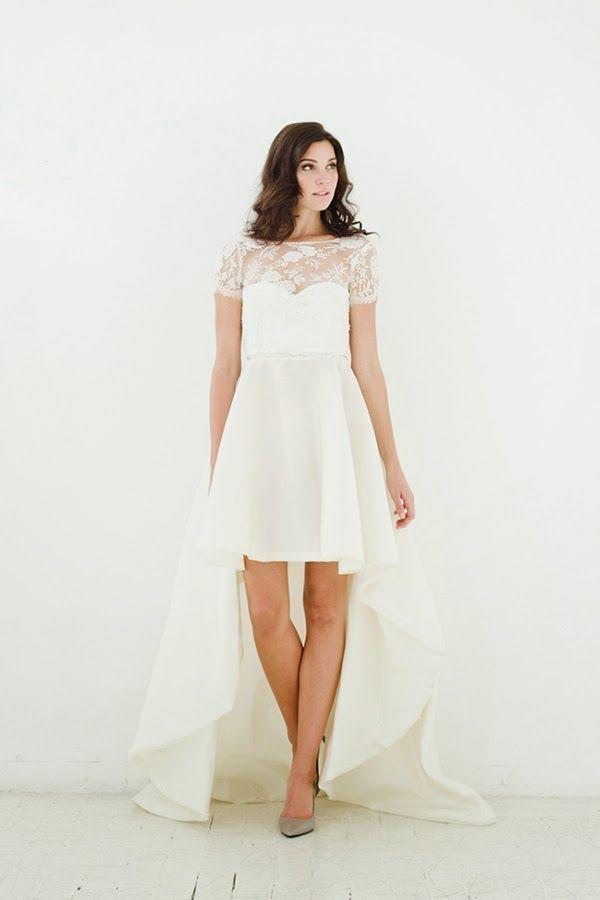 Robe de mariée courte sur le devant - Robe: Sarah Seven Fall 2015 ...