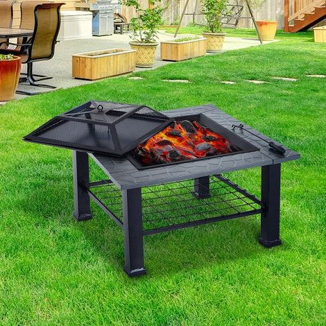 Outsunny Outdoor Garden 3 In 1 Metal Square Fire Pit BBQ Table Brazier  Firepit Patio Heater Stove 81cm L X 81cm W X 59cm H