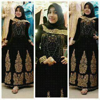 "Gamis Aceh Syar""i Arab + bergo Bhan Jersey import + bordir @300.000"