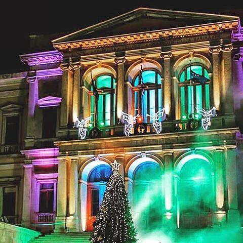 Merry Christmas to Everyone  A magical moment at the Town Hall of Syros island (Σύρος) . ❤️Feel the Christmas spirit❤️