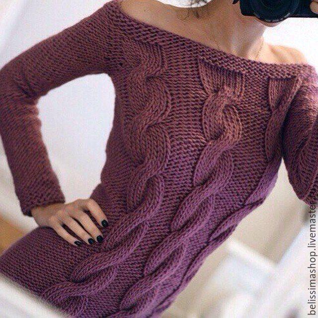 """Купить Свитер """"Три косы"""" - фиолетовый, свитер спицами, свитер женский, свитер вязаный"""