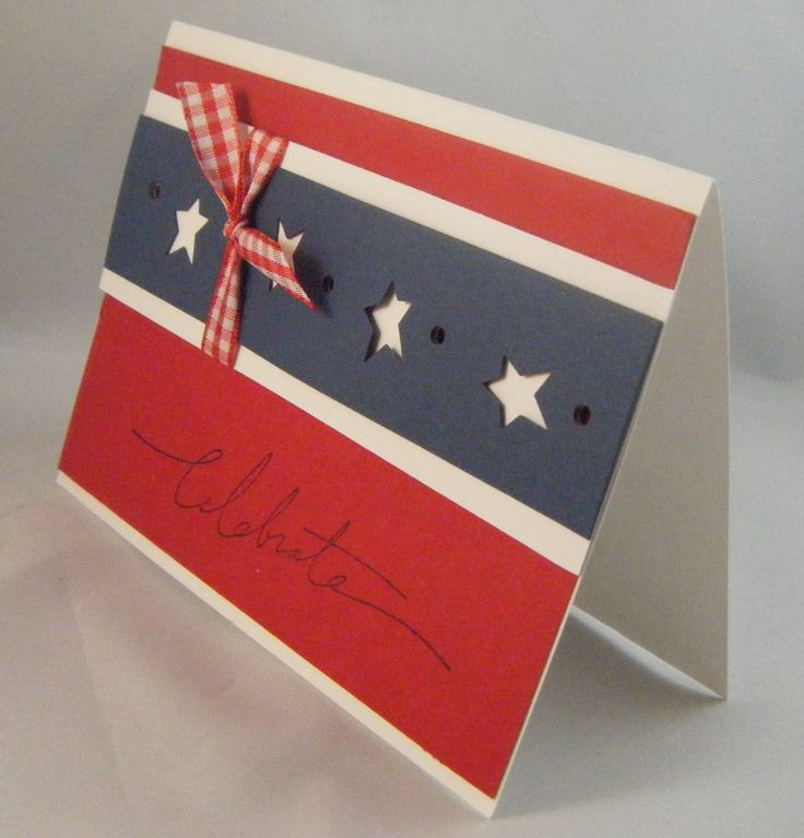 4th Of July Card Making Ideas Part - 15: Fourth Of July Card Idea, But With Different Colors And The Right Punch, It  Would Be A Cinch For Christmas.