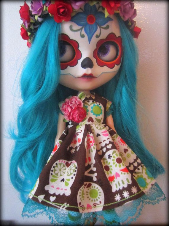 OOAK Day of the Dead Sugar Skull Dress for Blythe by shepuppy