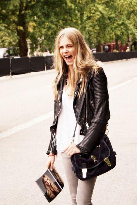 Trendy black jacket, model headshot