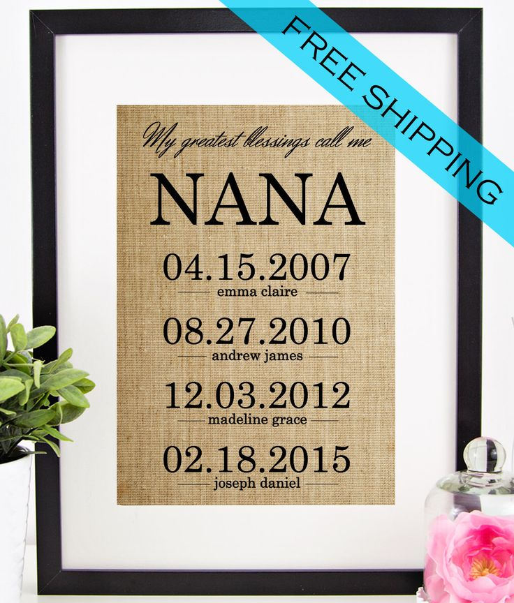 25 unique gifts for nana ideas on pinterest nana birthday gifts personalized nana gift mothers day gift for grandmother burlap print grandchildren name wall negle Gallery