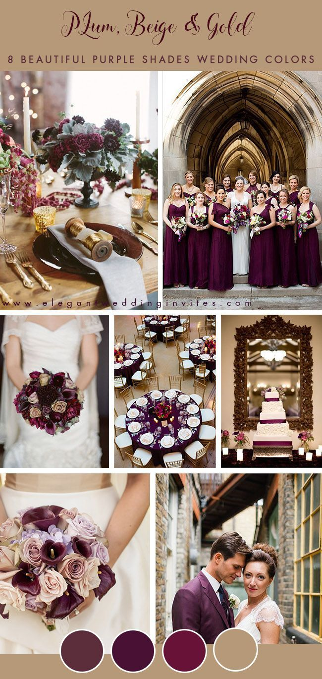 Plum Beige And Gold Vintage Wedding Color Inspiration Vintage Wedding Colors Wedding Color Inspiration Plum Wedding Colors