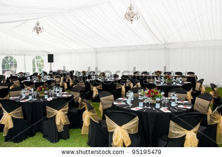 Stock Photo Wedding Marquee In Black And Gold Theme