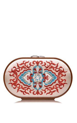 Russian church paining embroidered oval bag by KATRIN LANGER for Preorder on Moda Operandi