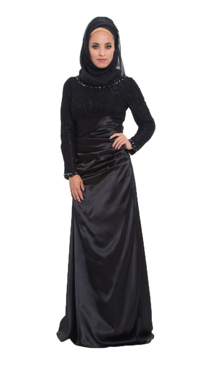 Black Lace and Satin Islamic Formal Long Dress with Hijab| kaftans, maxi dresses and long sleeve dresses for women | Islamic Dresses at Artizara.com