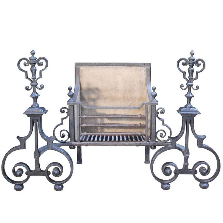 Early 19th Century Wrought Iron Fire Grate or Basket | From a unique collection of antique and modern fireplace tools and chimney pots at https://www.1stdibs.com/furniture/building-garden/fireplace-tools-chimney-pots/