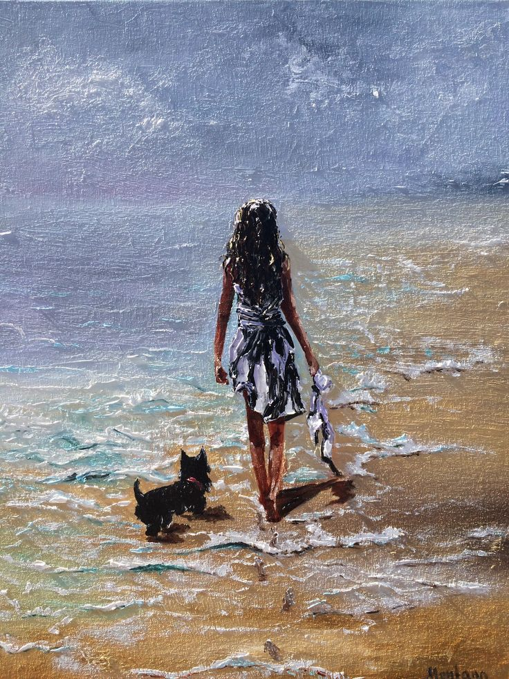 View Girl walking at the beach with the dog by Inna Montano. Browse more art for sale at great prices. New art added daily. Buy original art direct from international artists. Shop now
