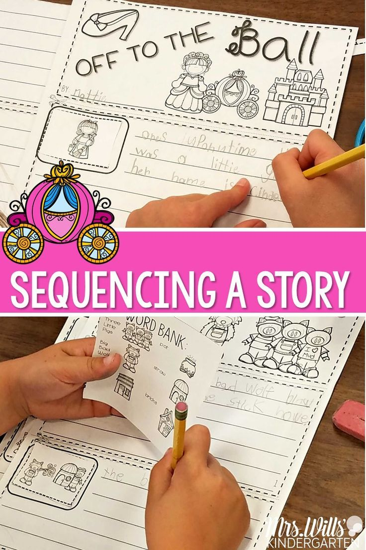 Students will sequence story graphics then write a story to accompany it. Each has 4 story scenes that can be put in order.  This unit includes: 8 stories at 2 different levels Color pocket chart cards 4 story scenes that can be put in order word banks I can cards  Stories/Nursery Rhymes included: Little Red Riding Hood Cinderella Itsy Bitsy Spider Three Billy Goats Gruff The Three Bears Jack and the Beanstalk