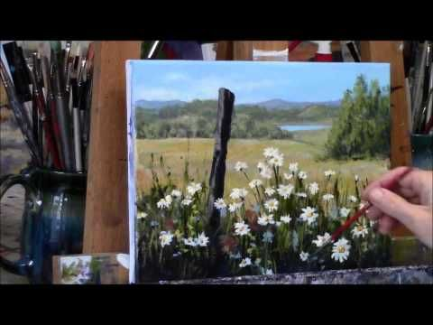 "Summer Daisies Country Acrylic Landscape Painting Demo ""Summer Daydream"" Part 1 - YouTube Más"