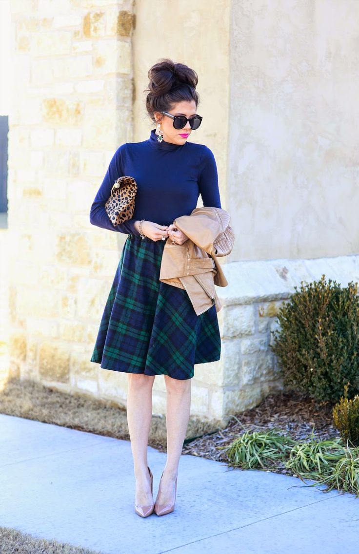 I like the sweater and a-line skirt silhouette, and would actually like more fine-knit sweaters that I could tuck into skirts without looking too bulky. I love navy-and-green plaid too and would love a shirt in this pattern.