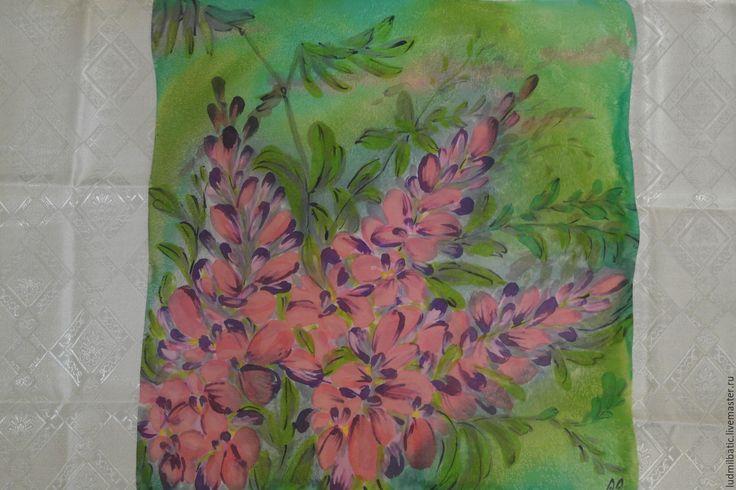 Купить Иван-чай - ярко-зелёный, цветочный, платок батик, Батик, платок, шейный платок
