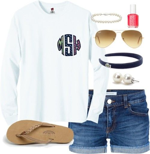 Lazy Day Monogram by classically-preppy featuring bounkit ❤ liked on PolyvoreVineyard Vines short sleeve shirt / Pierre Balmain jean shorts / Rainbow brown shoes / Bounkit  / Blue Nile cord bracelet / Ray-Ban aviator sunglasses / Lacoste  / Essie  nail polish