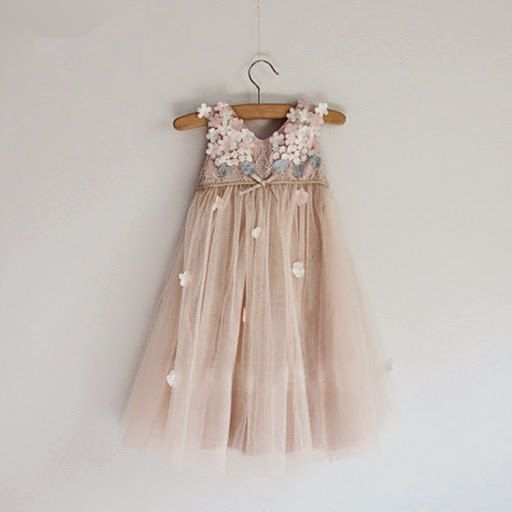Taupe Tulle Dress, Flower Girl Dress with 3D chiffon flowers top, Photo Prop Dress, 3D flower dress