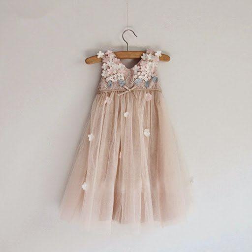 Taupe Blush Tulle Dress, Flower Girl Dress with 3D chiffon flowers top, Photo Prop Dress, 3D flower dress