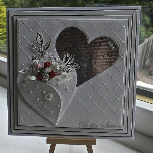 Good morning everyone, Friday at last!! Another Wedding card for you today , the ingredients are… Spellbinders grand squares, Spellbinders classic hearts,heart lattice embossing folder, memo…