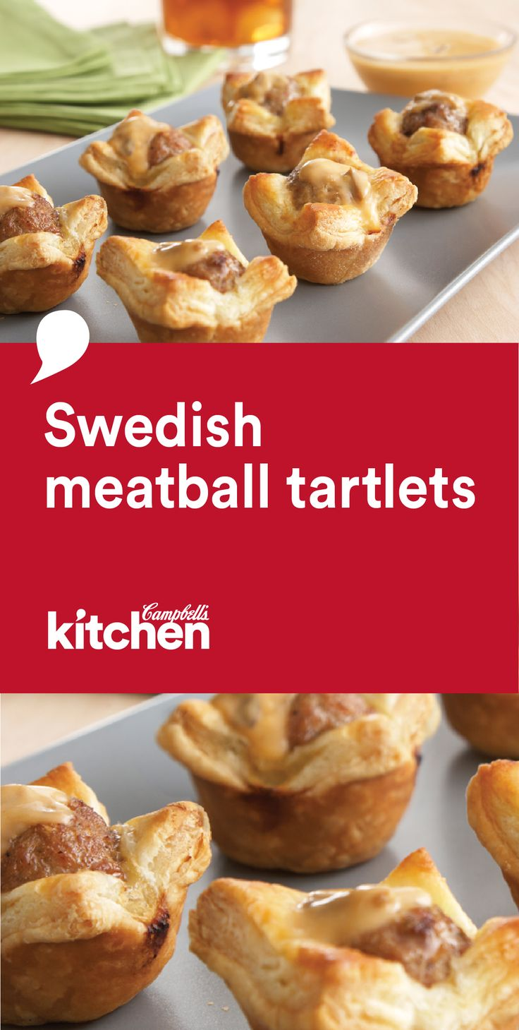 How adorable are these perfect little puff pastry tartlets? Filled with a delicious Swedish-style meatball and topped with a flavorful mushroom sauce, be sure to serve this recipe for Swedish Meatball Tartlets at your next party!