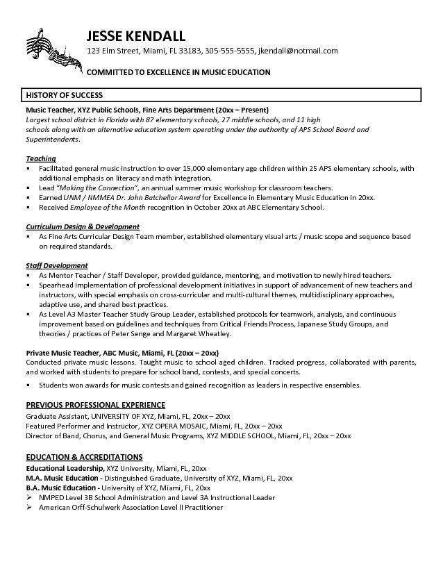 resume exle teaching orchestra