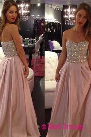 New Hot Pale Pink Strapless A-Line with Sparkly Beaded Long Sweetheart Cheap Prom Dresses uk PH01