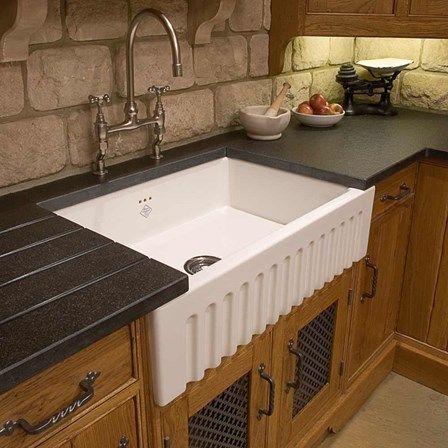 shaws original bowland ceramic single bowl fluted front sink 595mm x 465mm - Kitchen Sink Ceramic