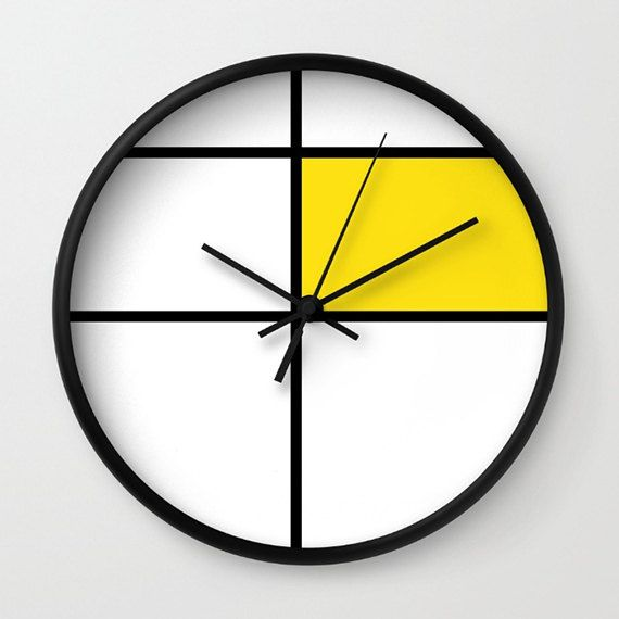 mondrian, mondrian 3, yellow, wall clock - mondrian, yellow, geometric graphic retro wall clock 10 diameter with black frame and hands.  10 diameter