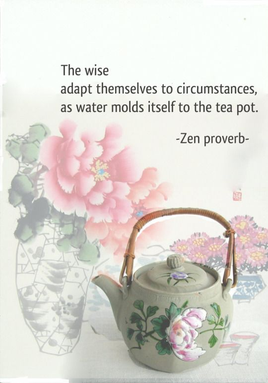 The wise adapt themselves to circumstances as water molds itself to the tea pot. {Zen proverb}