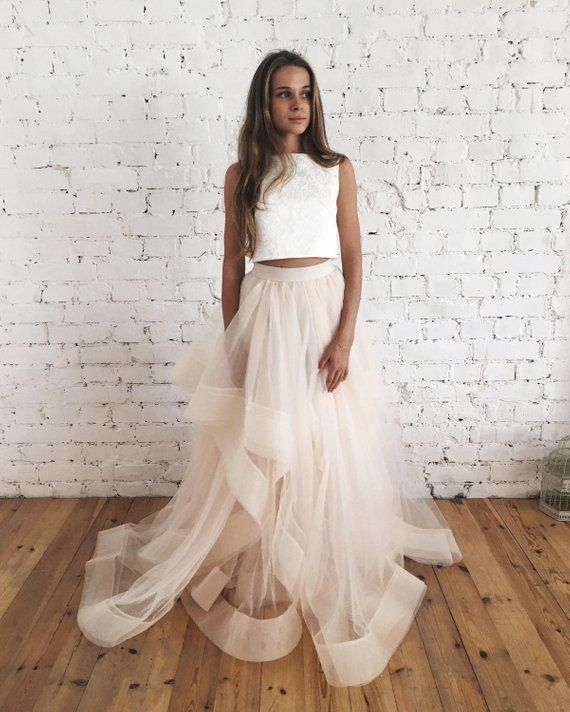 Unique Two Piece Wedding Dress Bridal Separates Crop Top Dress