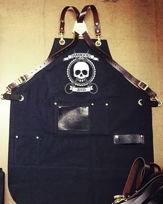 Custom barber apron with embroidery by Search & Rescue Denim Co. www.searchandrescuedenim.com