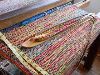 marshfield school of weaving, multi-stranded rug yarn. Not a rag rug but it still makes good use of leftovers.