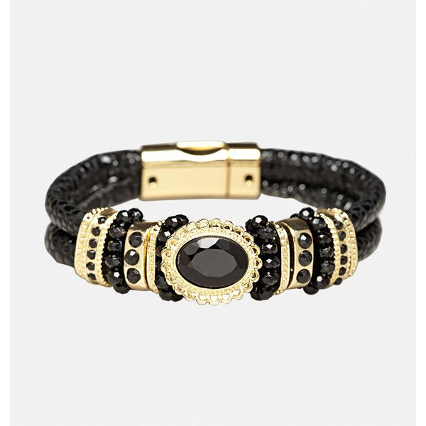 Avenue Faceted Faux Leather Magnet Bracelet ($16) ❤ liked on Polyvore featuring jewelry, bracelets, black, plus size, facet jewelry, bead jewellery, beaded jewelry, vegan jewelry and vintage style jewelry