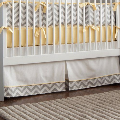 Gray and Yellow Zig Zag Crib Skirt Box-Pleat with 4-inch Trim and Accent   Carousel Designs