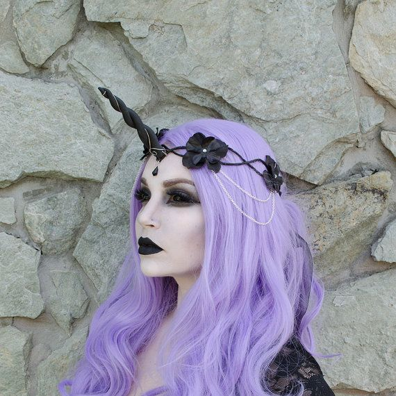Black Unicorn Crown  headpiece by Frecklesfairychest on Etsy