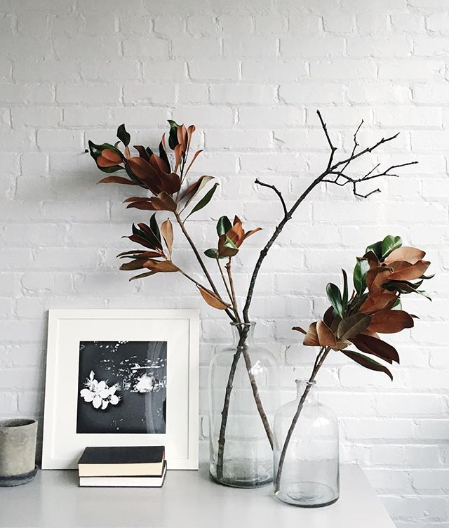 Magnolia branches and big glass vases make for instant display drama.