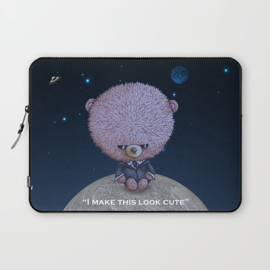 Ted in Black laptop sleeve by I Love the Quirky. Protect your laptop with a unique Society6 Laptop Sleeve. Our form fitting, lightweight sleeves are created with high quality polyester - optimal for vibrant color absorption. The design is printed on both sides to fully showcase the artwork while keeping your gear protected. Pulling back the YKK zipper, you'll find the interior is fully lined with super soft, scratch resistant micro-fiber.
