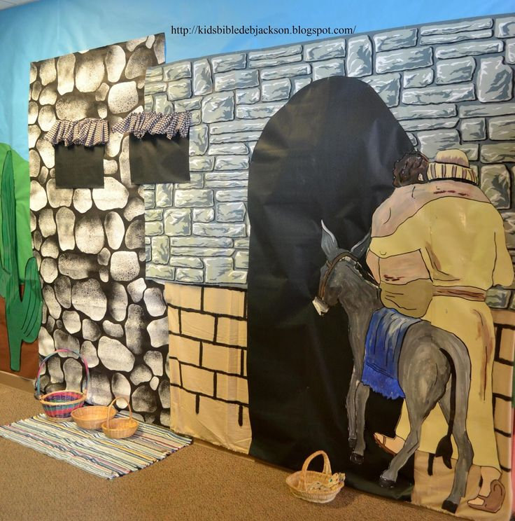 Parables of Jesus VBS: The inn for the Good Samaritan. Uses different background paper rolls to create a Bible times building. Good use for leftover scenery paper.