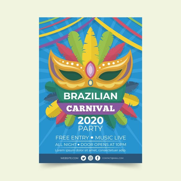 Download Brazilian Carnival Flyer Template In Flat Design For Free Flyer Flyer Template Vector Free