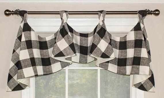 Buffalo Check Tab Flounce Valance Panel Or Pillow In 2020 Valance Decorative Curtain Rods Buffalo Check
